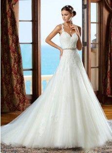 Court Train Organza Sheath Column Wedding Dress