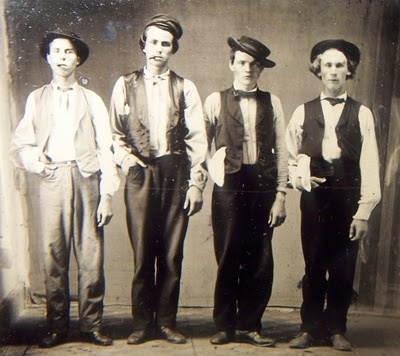 Left to Right.  Billy the Kid, Doc Holliday, Jesse James & Charlie Bowdre.  Photo believed to have been taken in New Mexico in 1879.  They all look so tiny!