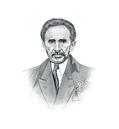 Drawing of Haile Selassie