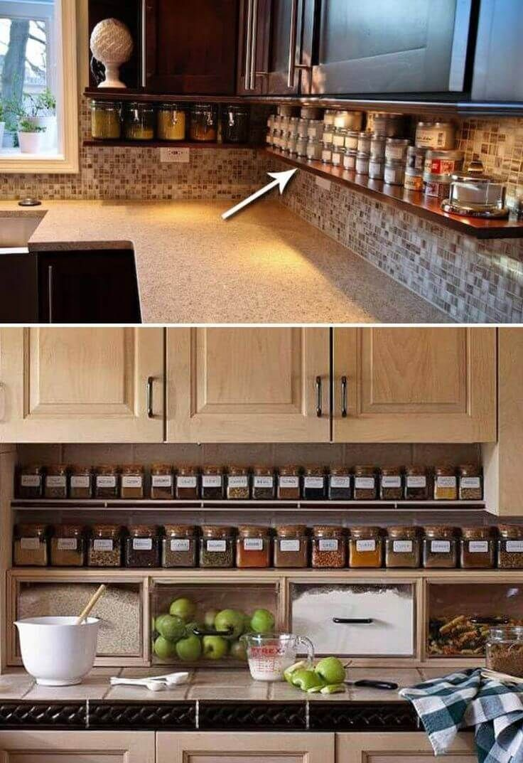 23 Neat Clutter-Free Kitchen Countertop Ideas to Keep Your Kitchen in  Tip-top Shape. Under Counter ...