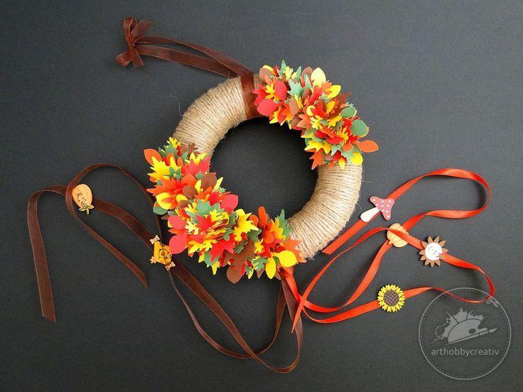 Coronita polistiren decorata in nuante de toamna / 1