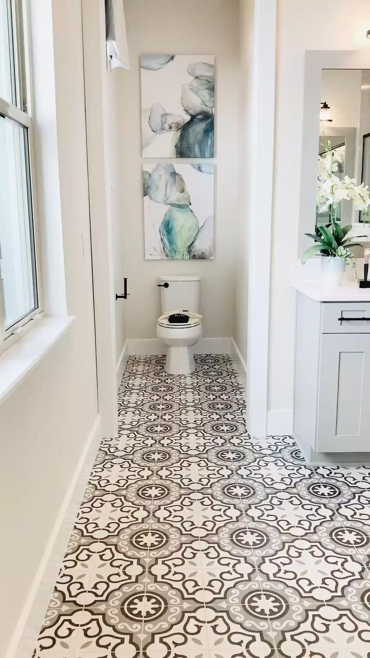 11 Modern Farmhouse Bathroom Decor with Vintage Tiles  Bathroom