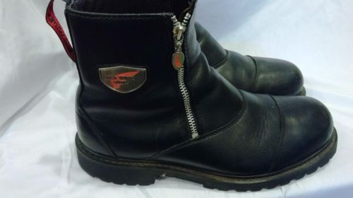 Red Wing 965 Men's Blk Motorcycle Steel Toe/Zip Up Boots | For ...