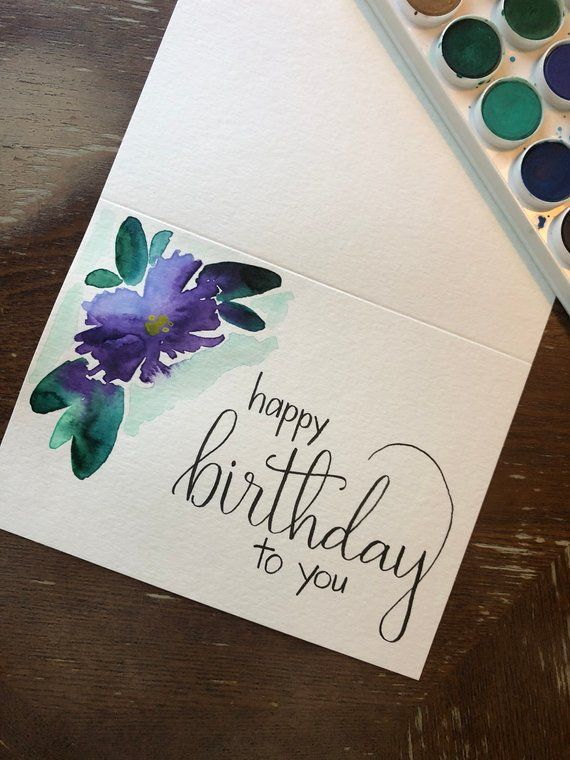 Happy Birthday Card With Watercolor Flower Handmade Card Birthday