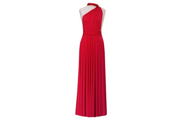 Infinity Wrap Bridesmaid Dress Red Long Convertible by TwistWrap