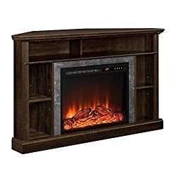 Ameriwood Home Overland Electric Corner Fireplace for TVs up to 50″ Wide, Espresso