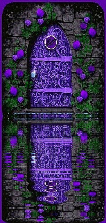 Purple door and reflection in water
