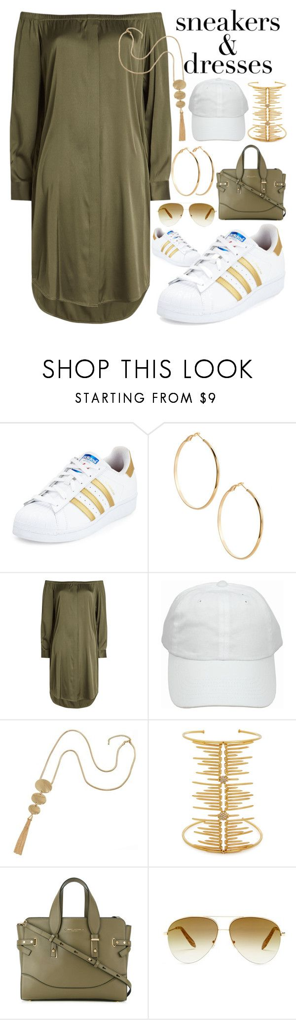 """sneakers and dresses"" by ashley-andreasen ❤ liked on Polyvore featuring adidas, GUESS by Marciano, DKNY, Joanna Laura Constantine, Marc Jacobs and Victoria Beckham"
