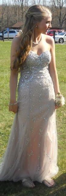 Tony Bowls Paris Champagne & Silver Hand Beaded Formal Prom Dress Sz 4 Mon Cheri