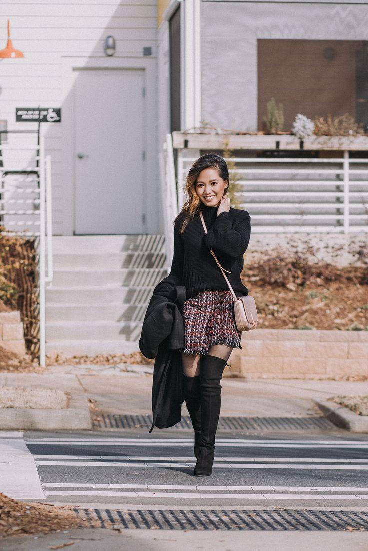 Your Ultimate Guide to Blogging 2018 Edition - Chic Winter Outfit in a turtleneck sweater, mini skirt, and stuart weitzman boots | le-jolie.com | Black top coat, feminine style, winter fashion, winter outfits, winter look, tweed skirt, tweed mini, bershka, karen walker, metallic trend, metallic handbag, over the knee boots, otk boots, minimal style, asian blogger, influencer style, turtleneck sweater outfit, black turtleneck