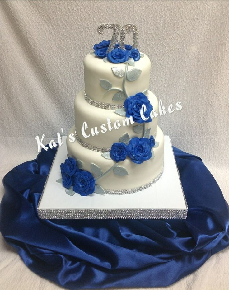 Bling 70th Anniversary Cake With Royal Blue Roses