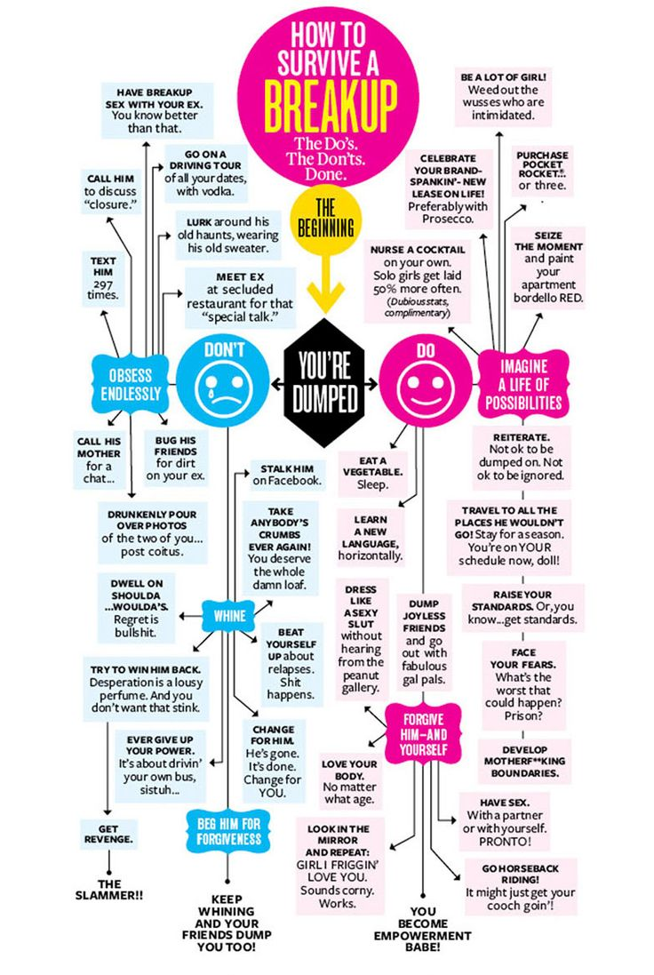 The ultimate survival breakup flowchart. The do's. The don'ts. Get advice for getting over your ex by way of this fun, sassy flowchart. - From the authors of Dumped, the book.  http://www.dumped411.com/how-to-survive-a-breakup-flowchart.html