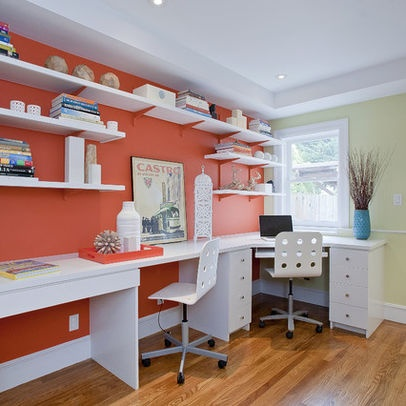 home office sewing room combo love the bold color of the wall and