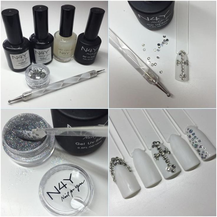 Nailart step by step. Here nailart with rhinestones and nail glitter