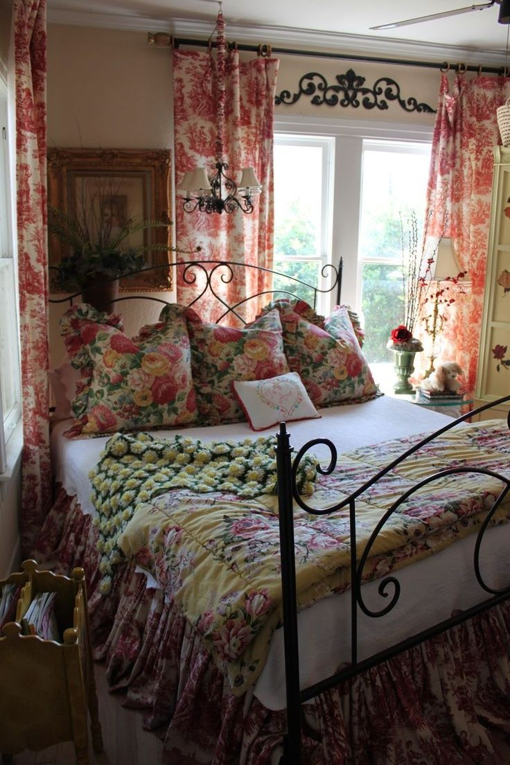 French Country Charm    Floral and Toile  See more at thefrenchinspiredroom