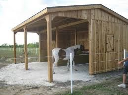 horse run in shed. Simple three sided
