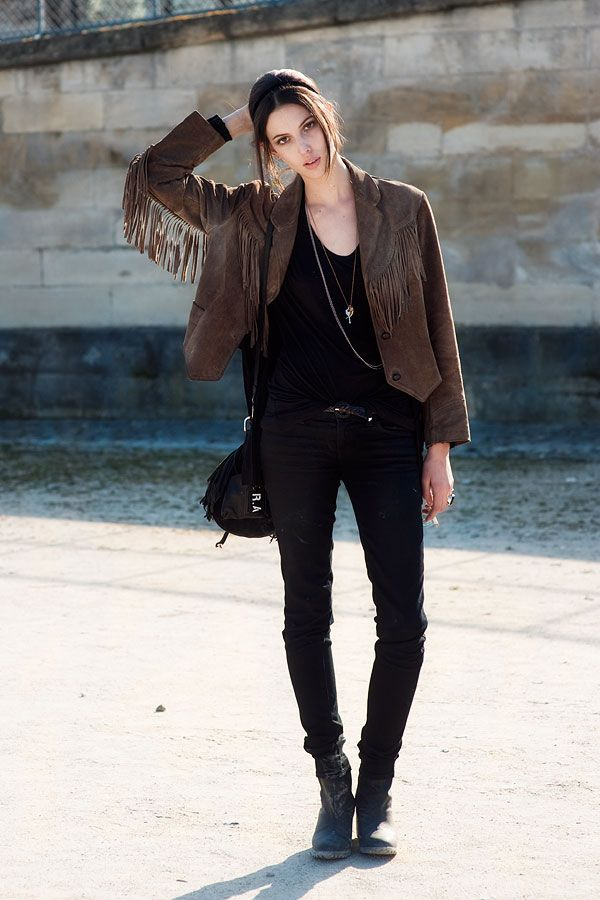 Miss Ruby Aldridge, showing us how to wear a cowboy fringe leather jacket
