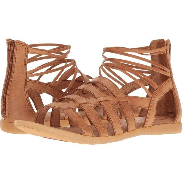Born Angeles (Light Brown Full Grain) Women's Dress Sandals ($100) ❤ liked on Polyvore featuring shoes, sandals, platform shoes, born sandals, dress sandals, gladiator sandals and strappy platform sandals