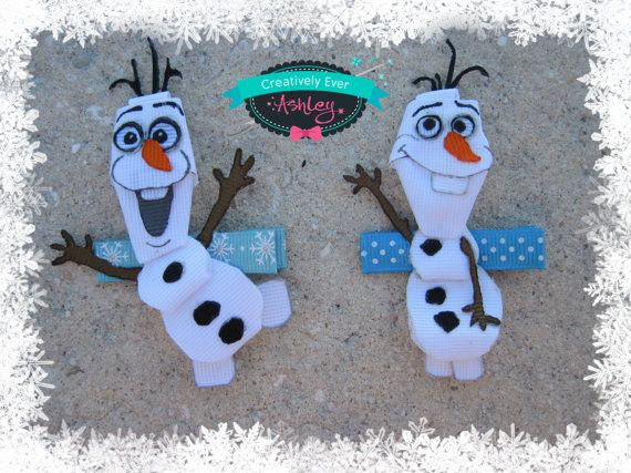 How cute is he? From Disney Frozen ~snowman Olaf hair clip by CreativelyEverAshley on Etsy, $9.00