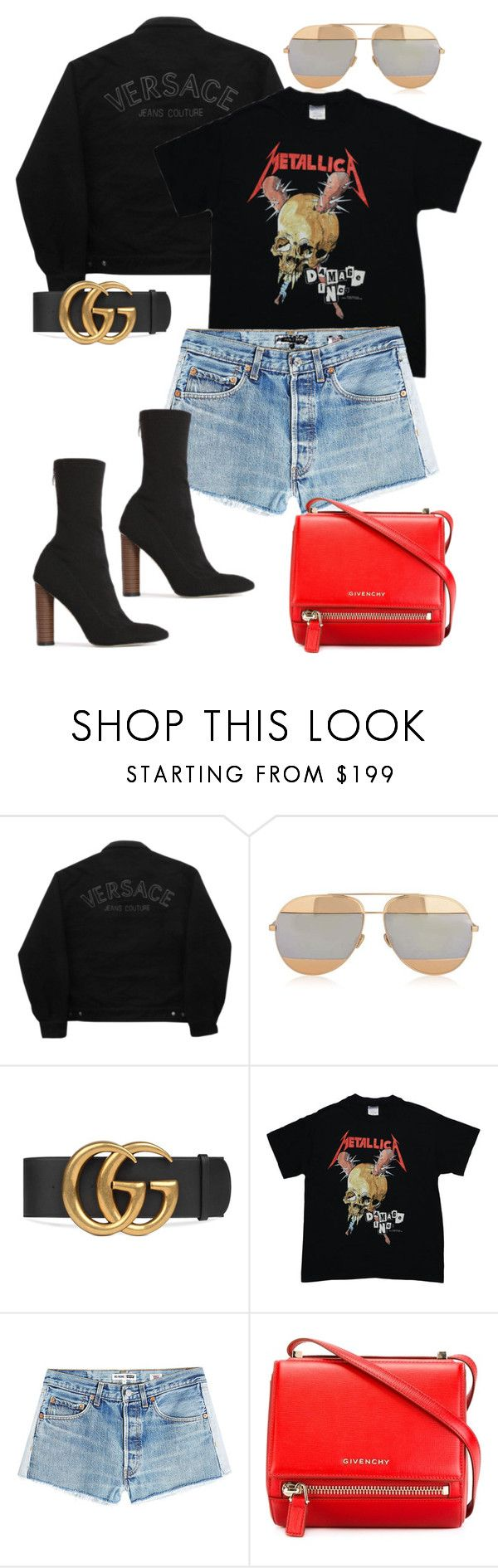 """""""Untitled"""" by whoiselle ❤ liked on Polyvore featuring Versace Jeans Couture, Christian Dior, Gucci, INC International Concepts, RE/DONE, Givenchy and Public Desire"""