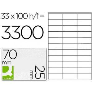 Caja de etiquetas autoadhesivas baratas, válidas para todos los sistemas de impresión (inkjet, láser y fotocopiadoras) Soporte adhesivo de alta calidad Cantos rectos Cajas de 100 hojas Din A-4 Blancas Medidas etiqueta: 70 x 25 mm. Etiquetas por hoja: 33 etiquetas Etiquetas por caja: 3.300 etiquetas