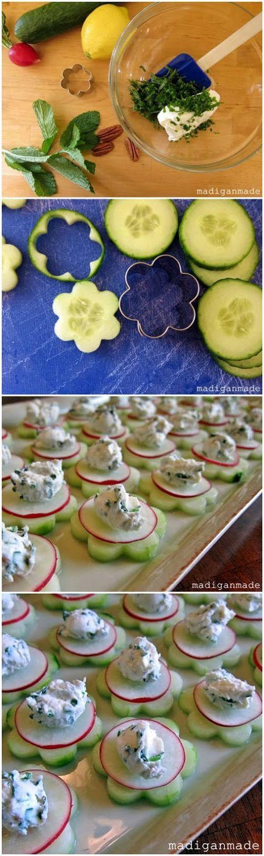 """Garden fresh herbed cucumber """"flower"""" bites - yum! Färskt från trädgården - blomformad gurka med örtdip som topping. Mums!"""