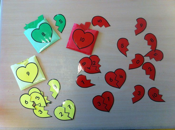 """""""verliefde harten"""" / """"vriendjes van 10"""" (spelletje om splitsen t/m 10 te oefenen"""