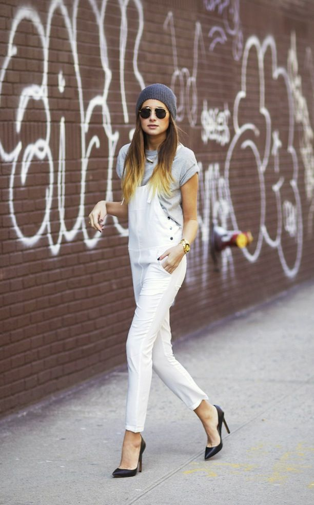 Street Style: Overalls + Pumps Grown Up Chic Dungarees Heels Beanie Aviator Sunglasses Grey Gray Heather Tee Tshirt White Overalls Gold Watch