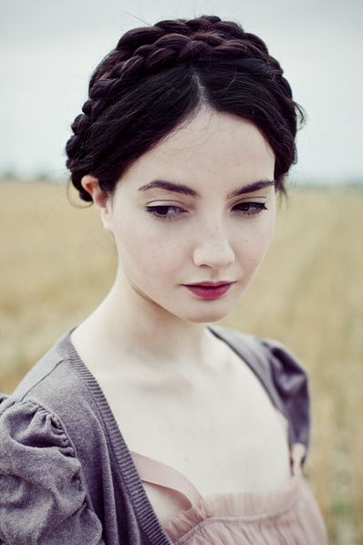 also beauty inspiration, pale pale skin, minimal eye makeup (liquid liner) dark rosy lip