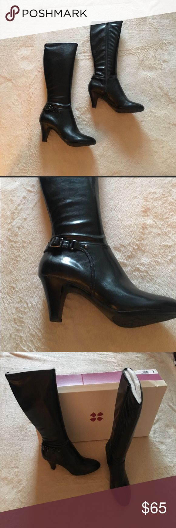 Naturalizer black heeled boots!!! Size 9 NWT and box! Naturalizer Britta black heeled boots. The heel is 2.5 inches. Has a buckle detail! Zipper up the inside of the leg/calf. Naturalizer Shoes Heeled Boots
