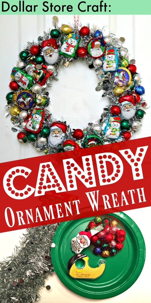 Make a Christmas Candy Ornament Wreath - dollar store craft idea for Christmas