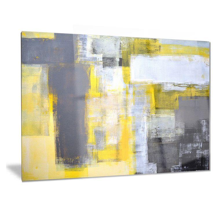 Designart 'Grey and Yellow Blur Abstract' Abstract Metal Wall Art