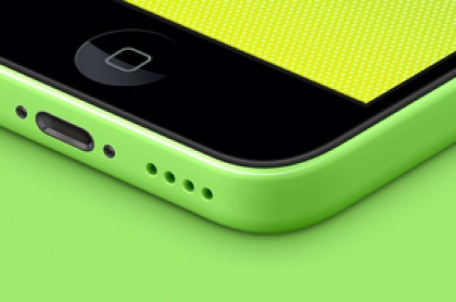 Fully scalable perspective iPhone 5C psd vector template to showcase your apps with a colorful range of green, blue, yellow, pink,...