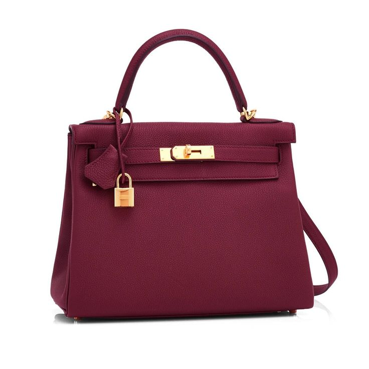 Hermes Bordeaux 28cm Kelly Togo Red Gold Hardware Exquisite New Release | 1stdibs.com