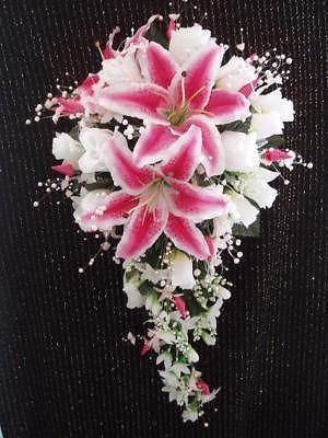 Wedding 2 pc bridal bouquet stargazer lily white by MyongsFlowers
