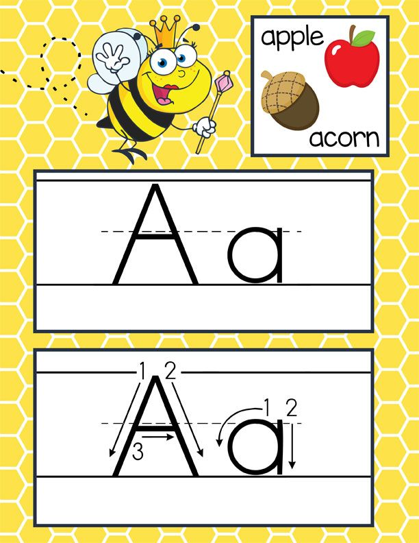 BEE Theme Classroom Decor ABC Cards With Illustrations Handwriting Font Print