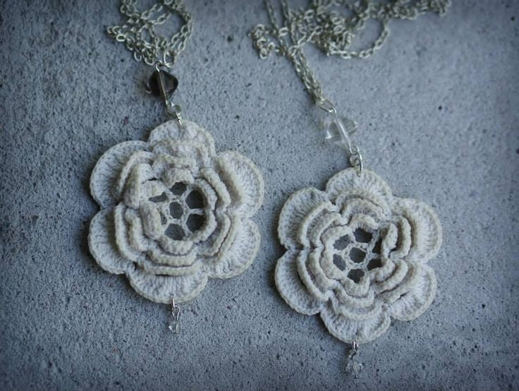 Lace pendant from old doily, glass beads, svowski crystal and silver chain