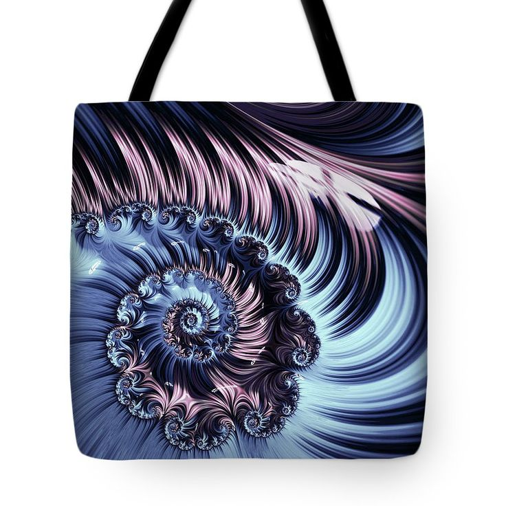 Abstract Tote Bag featuring the digital art Purple Spiral Abstracts by Oksana Ariskina. Pale and blue spiral abstract fractal flower pattern background. Available as poster, greeting card, phone case, throw pillow, framed fine art print, metal, acrylic or canvas print with my fine art photography online: www.oksana-ariskina.pixels.com  #OksanaAriskina #Artworks #FineArtPhotography #HomeDecor #FineArtPrints #FineArtAbstract  #AbstractBackgrunds #ArtForSale    #Abstract #Fractal
