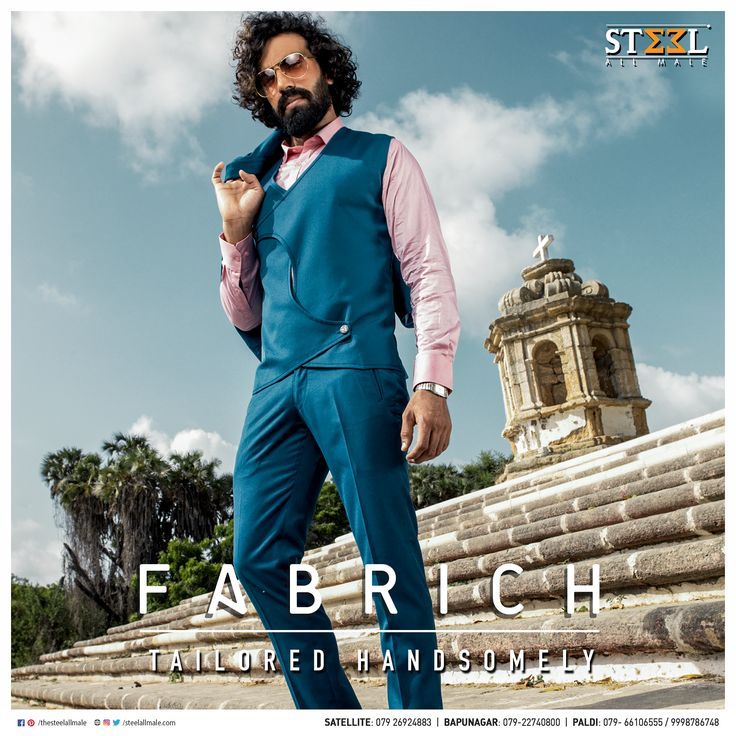 Precise fit, fine quality & perfectly tailored! Don a custom tailored suit by Steel All Male & rock the dais. #CustomTailored #CustomTailoring #Ahmedabad #Fabrics #Fabrich #SteelAllMale #ClothingStore #Menswear #Fashion