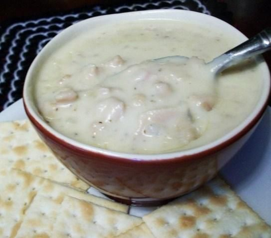 Creamy New England Clam Chowder from Food.com:   								Most clam chowders have way too much potato and not enough clams for my taste. I (Bird) developed this recipe fix that. I use an immersion blender to cream the potatoes into the chowder, then add lots of clams. :)