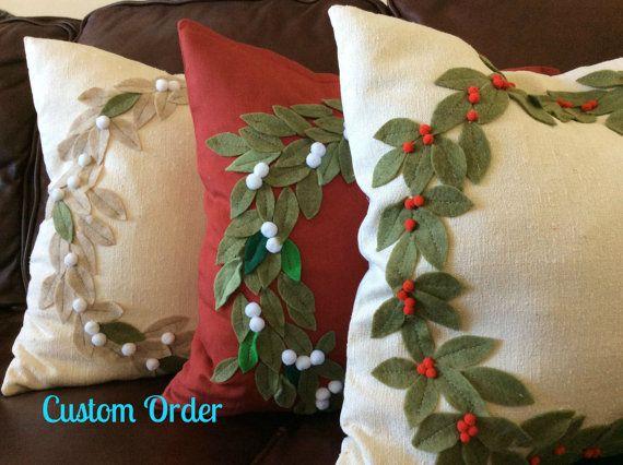 Funda de almohada de guirnalda de Navidad, vacaciones guirnalda almohada, decoración de Navidad, vacaciones acento almohada