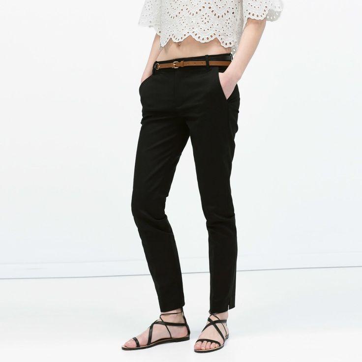 Hot Sale Women Cotton Pants 2016 Spring Fashion Women Pants Slim Pencil Pants With Belt Work Wear OL  LB085