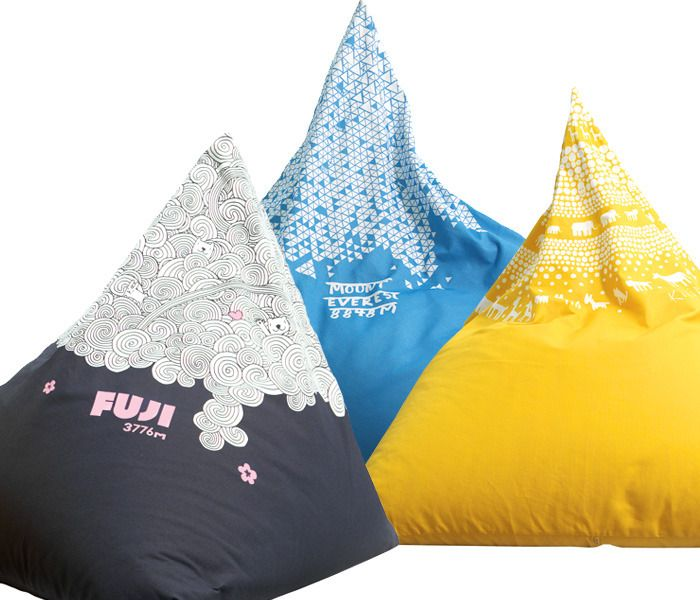 Mount Everest, Kilimanjaro, Fuji - Mountain poufs by Swedish firm Little Red Stuga.  Anyone know how to buy these in the US?