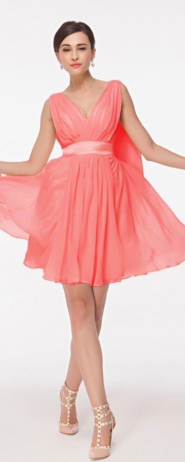 Coral bridesmaid dress knee length V neck short bridesmaid dresses for beach wedding summer wedding