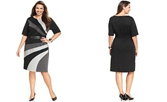 Connected Plus Size Belted Colorblock Sheath
