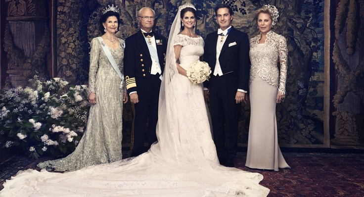 Swedish Royal Wedding: Princess Madeleine of Sweden & Christopher O'Neil On the left the parents of the bride: Queen Silvia of Sweden and King Carl XVI Gustaf On the right, the mother of the groom: Eva O'Neill.