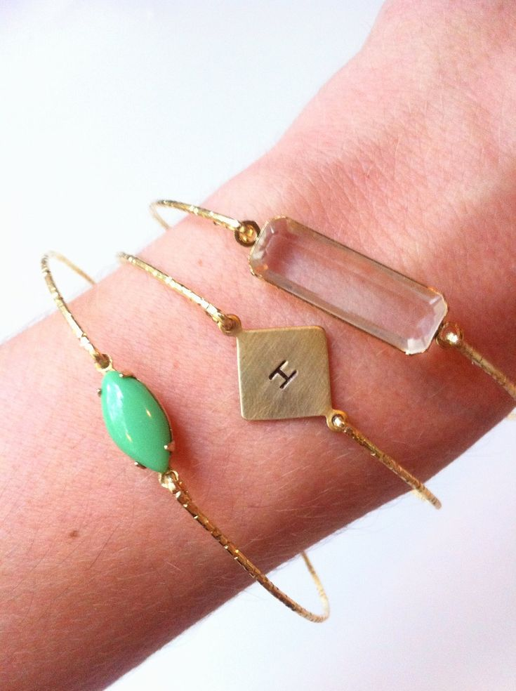 Custom Hand Stamped Gold Square Bangle. $9.00, via Etsy.