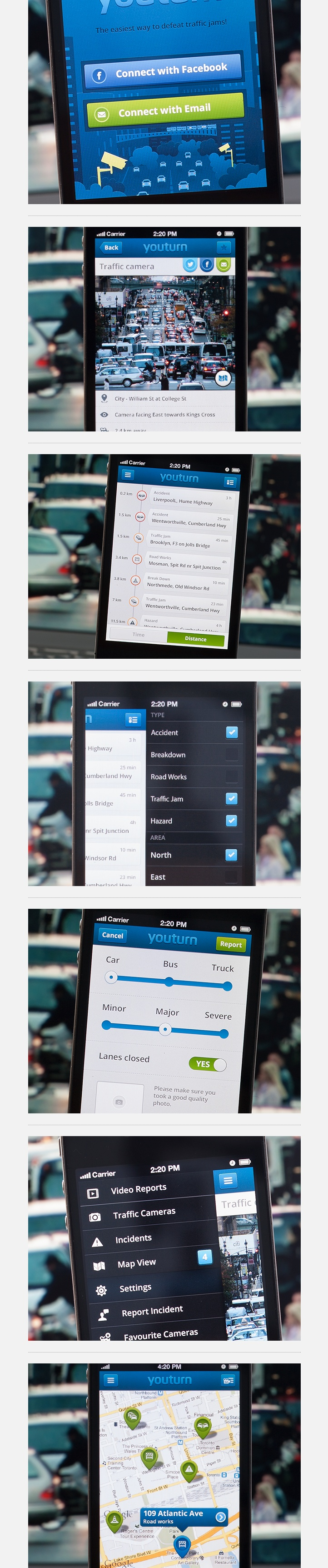 YouTurn by Maria , via Behance *** App provides users with real-time access to road warnings and incidents and thus helps them to avoid traffic jams or disasters on their way.