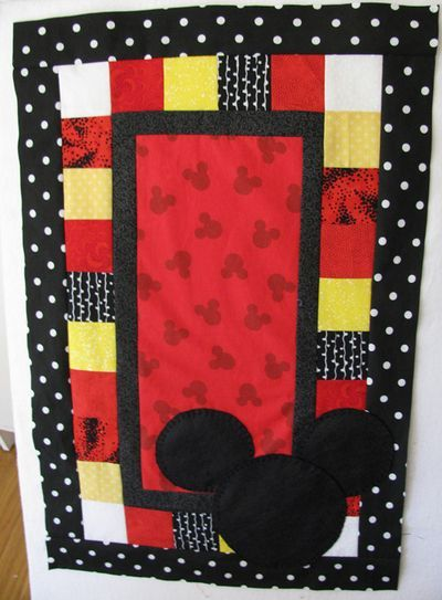 Mickey RR block  Paper Roses blog - Mickey quilt (including idea for cute quilt label block for back)
