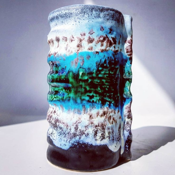 Dumler and Breiden polar glazed vase  #dumler #breiden #dumlerandbreiden #germany #german #pottery #ceramic #vase #flowers #midcenturymodern #modern #vintage #retro #70s #polar #blue #green #white #black #relief #fatlava